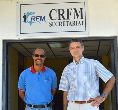 Above: Milton Haughton, CRFM Executive Director (left), and Marc Taconet, Chief of the Statistics and Information Branch of the Fisheries and Aquaculture Policy and Economics Division, FAO