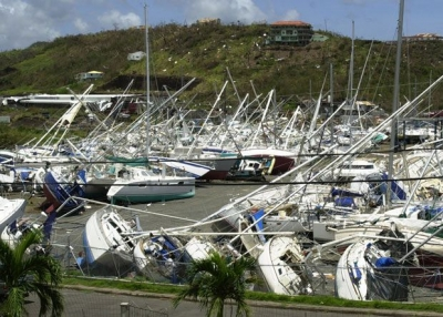 Grenada devastated by Hurricane Ivan in 2004. Fishing boats destroyed as well as majority of buildings.